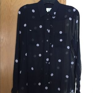 Kate Spade Navy Polka-Dot Button-down Blouse